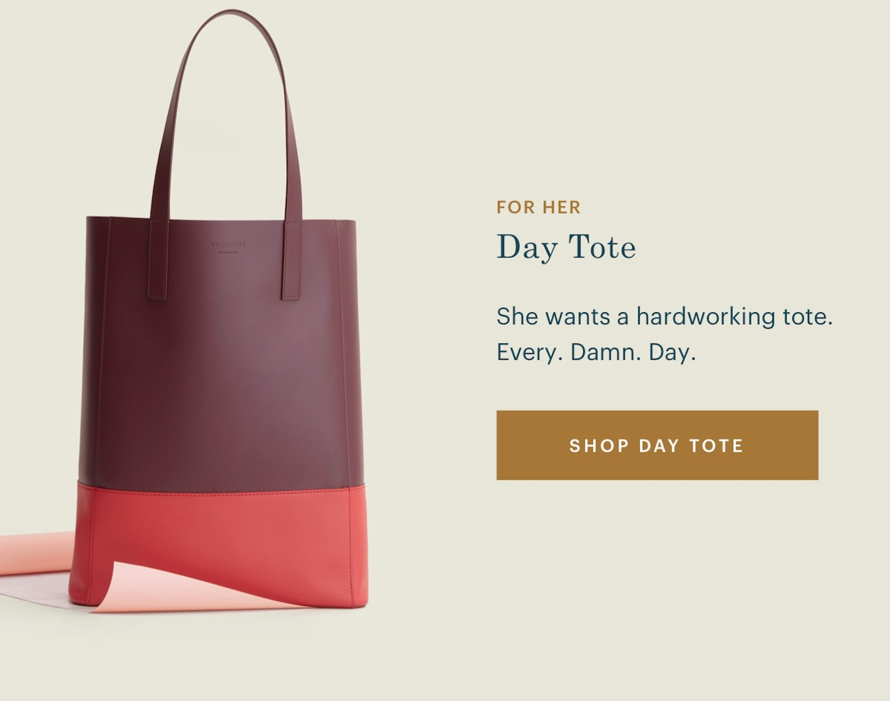 The Day Tote. She wants a hard-working tote. Every. Damn. Day.