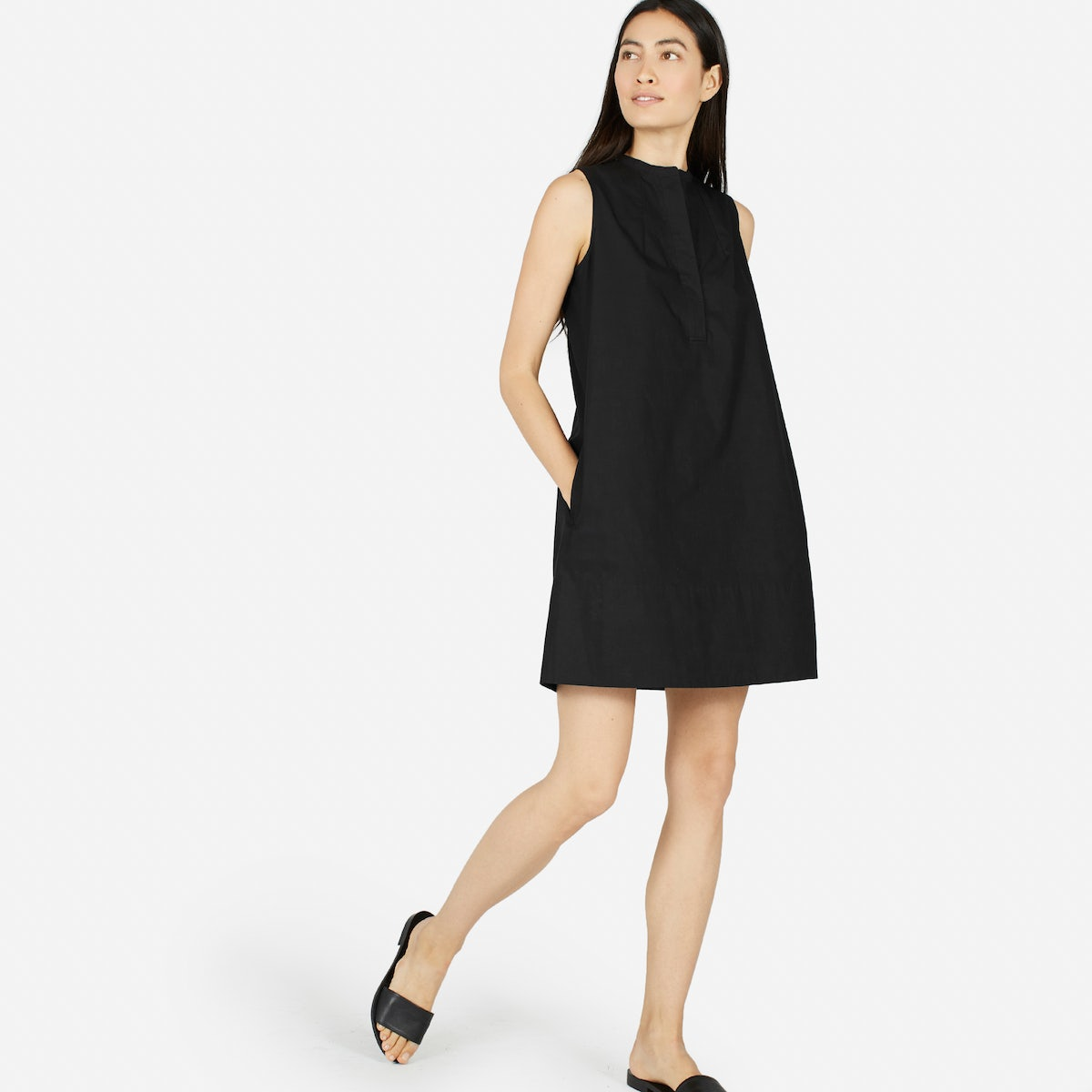 Black shirt dress - The Cotton Poplin Sleeveless Shirt Dress 80