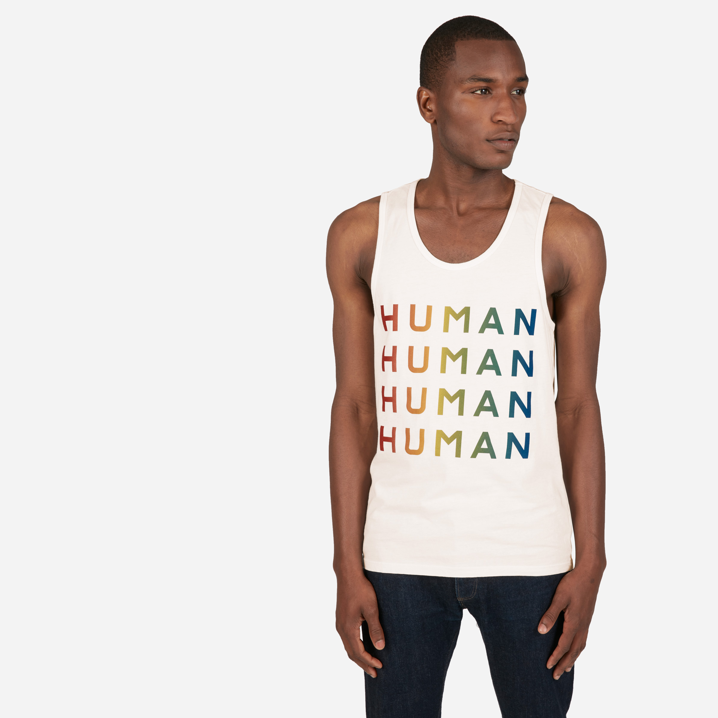 Human Pride Unisex Tank in Double Print - Bone/Rainbow