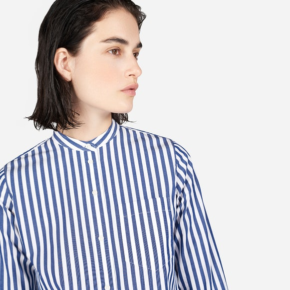 Women's Cotton Poplin Collarless Shirt Dress | Everlane