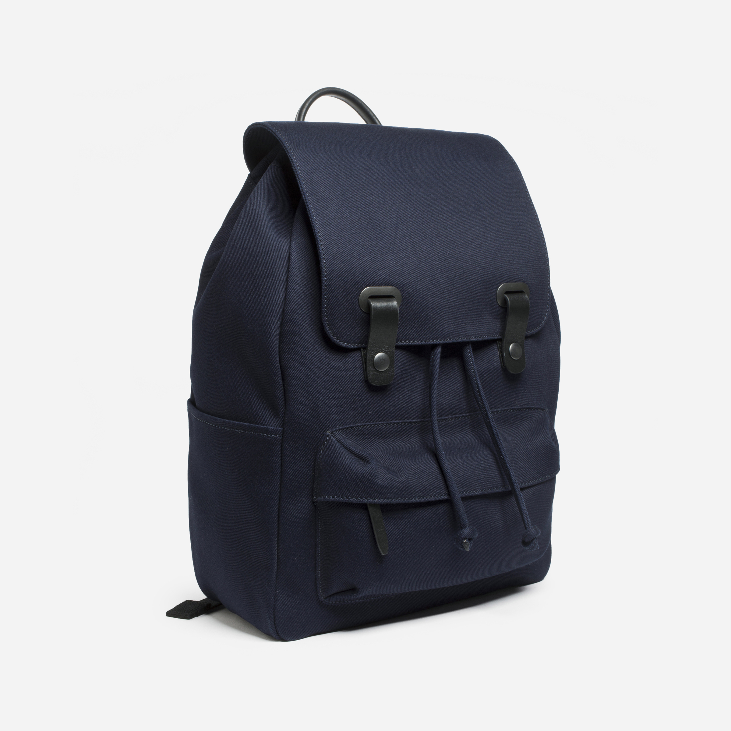 The Twill Backpack - Navy + Black Leather